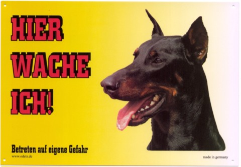bulldogshop warnschild dobermann kupiert. Black Bedroom Furniture Sets. Home Design Ideas
