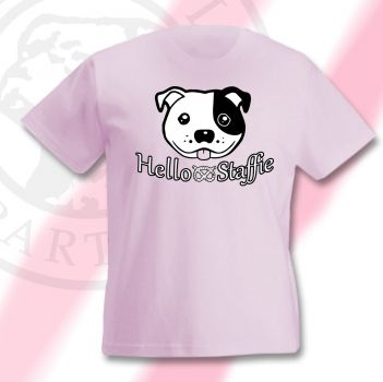 Staff Bull Kinder T-Shirt Motiv Hello Staffie
